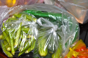 The veggie lady's bags, in bags, in another bag - just to be safe ;)